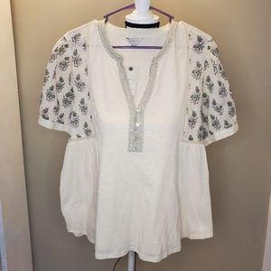 NWT Lucky Brand boho peasant top lace embroidered